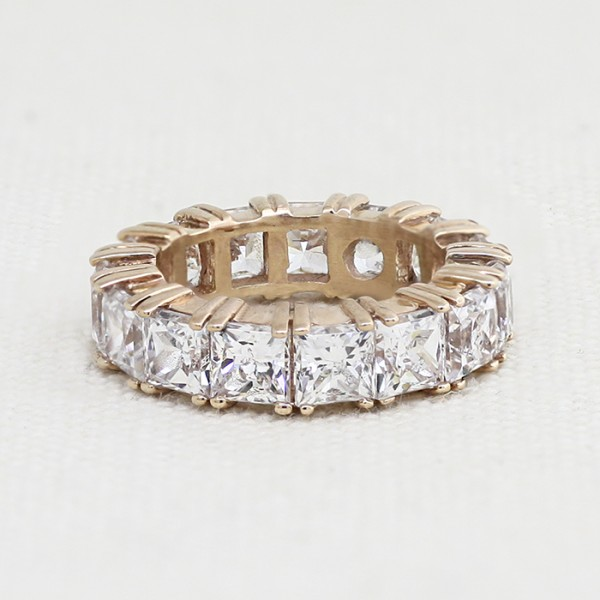 Princess Cut Eternity Band - 14k Rose Gold - Ring Size 5.25