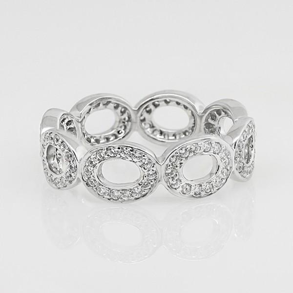 Circular Pave-Set Eternity Band - 14k White Gold - Ring Size 7.0