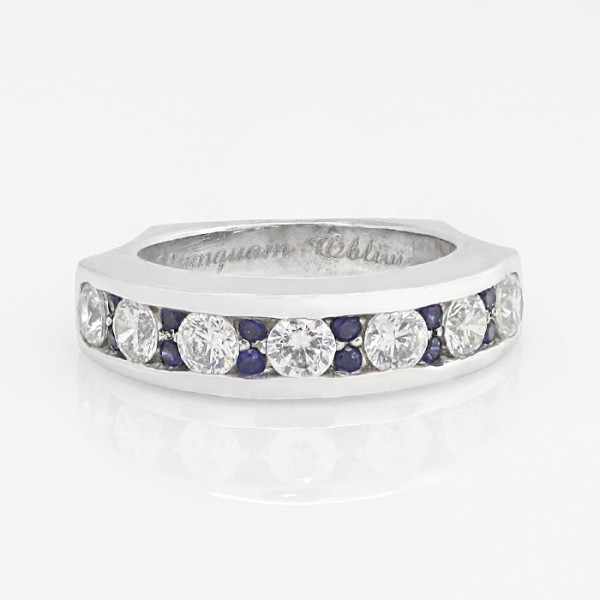 Bounte Matching Band with Sapphire Accents - 14k White Gold - Ring Size 6.5