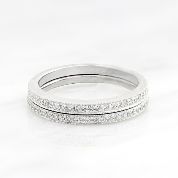 Two Millgraine Detailed Bands - 14k White Gold - Ring Size 7.0-8.0