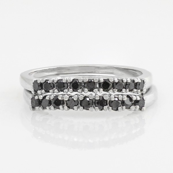 Two Fifth Avenue Matching Bands with Black Stones - 14k White Gold - Size 5.5-6.5