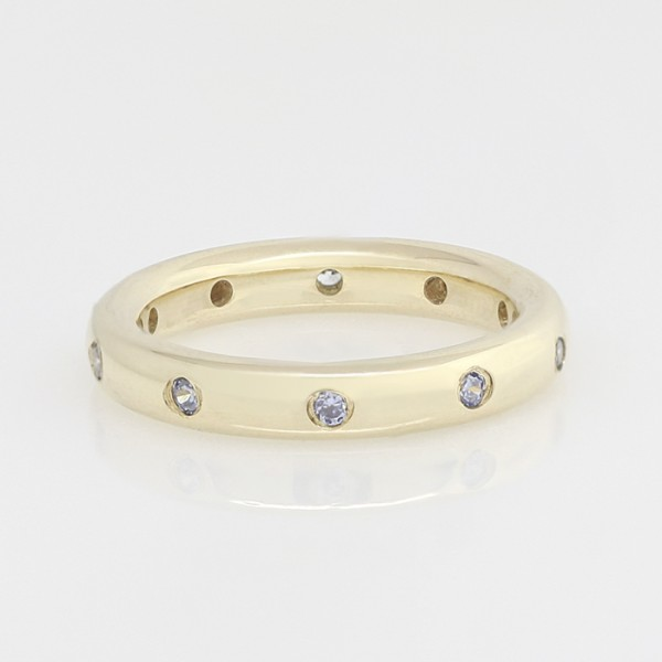 Comet Theater Band with Glacial Ice Nexus Diamonds - 14k Yellow Gold - Ring Size 6.0