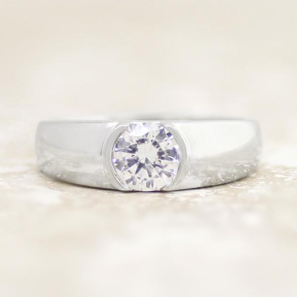 Luna with 1.24 carat Round Brilliant Center - 14k White Gold - Ring Size 5.5