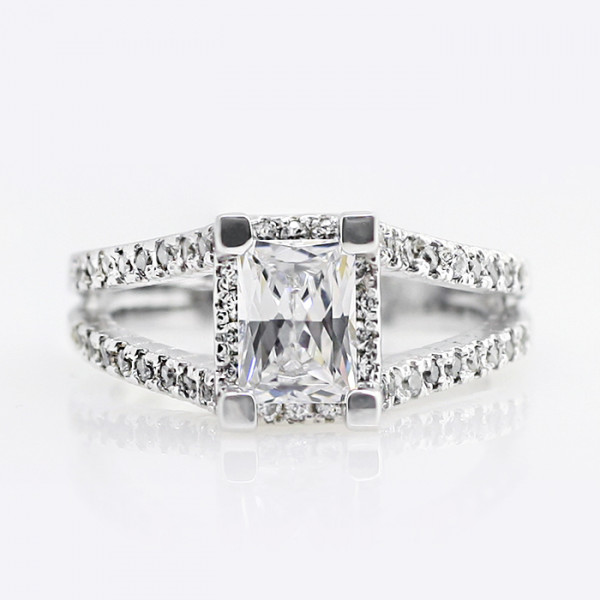 Discontinued Maika with 1.14 Carat Radiant Center - 14k White Gold - Ring Size 6.5-8.0