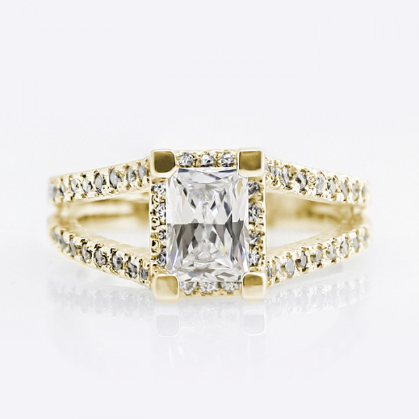 Discontinued Maika with 1.74 carat Radiant Center - 14k Yellow Gold - Ring Size 6.5-7.5