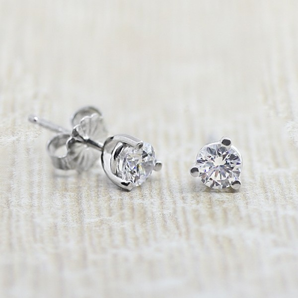 Round Martini-Set Stud Earrings with Tension Backs - 0.25 carats each - Palladium