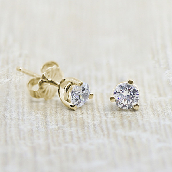 1.03 carat Round cut Martini Set Tension Back Studs, 2.06tcw - 18k Yellow Gold
