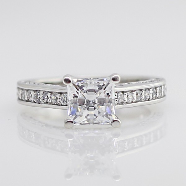 Marvala with 1.24 Princess cut center, 14k White Gold - Ring size 5.0