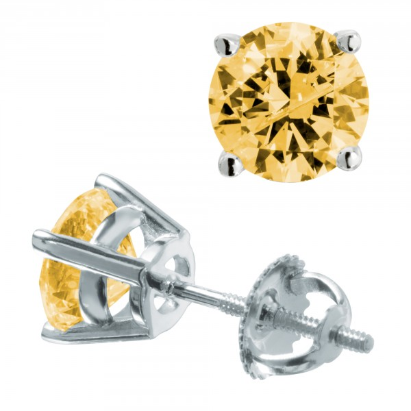 Canary Round Cut Studs, Screw Back, Basket Set - 14k White Gold - 0.84 ct Each - Marquette Collection