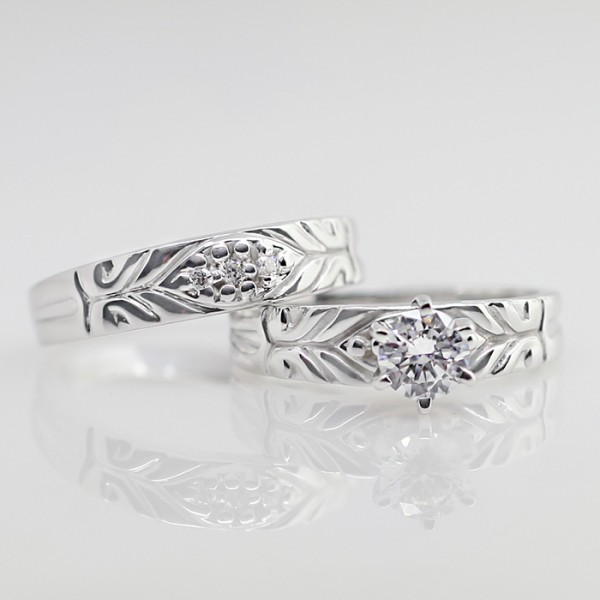 Michaelangelo with .56 Round Brilliant and Matching Band - 14k White Gold - Ring Size 5.00