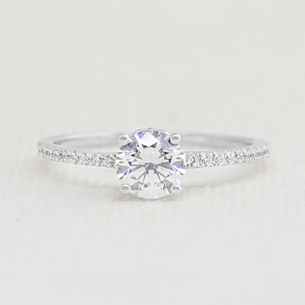 Mina with 0.84 carat Round Brilliant Center - 10k White Gold - Ring Size 8.0
