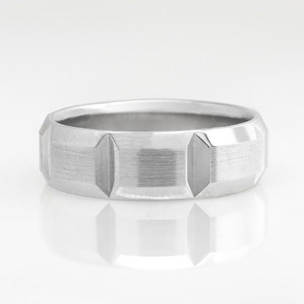 Custom Men's Wedding Band - 14k White Gold - Ring Size 10.25