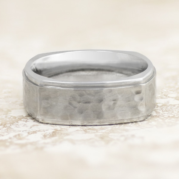 Men's Ring with Polished Hammer Finish - Cobalt - Ring Size 10.0