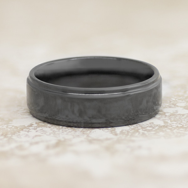 Men's Ring with Polished Finish - Black Zirconium - Ring Size 10.0
