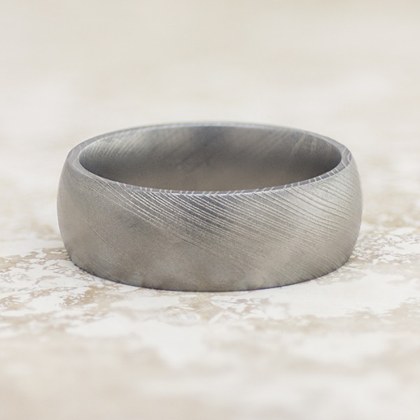 Men's Ring with Bead Blast Finish - Damascus Steel - Ring Size 10.0