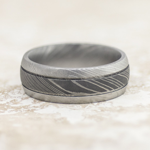 4544a2579afdf Men's Ring with Bead Blast and Acid Finish - Damascus Steel - Ring Size 10.0