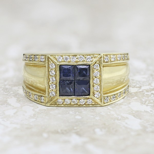 Michael with Sapphire - 14k Yellow Gold - Ring Size 10.0