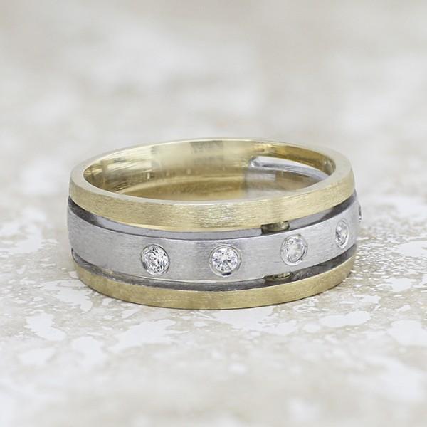 Taurus - 14k White and Yellow Gold - Ring Size 8.75