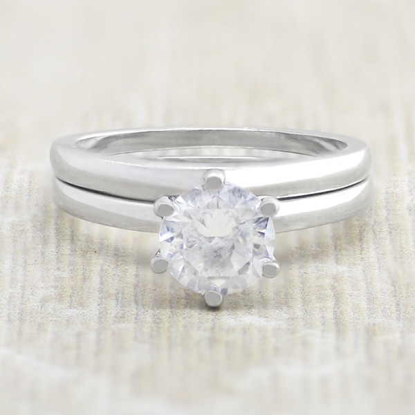 Tiffany-Style 6 Prong Solitaire with 1.49 Carat Round Brilliant Center and One Matching Band- 14k White Gold - Ring Size 7.5