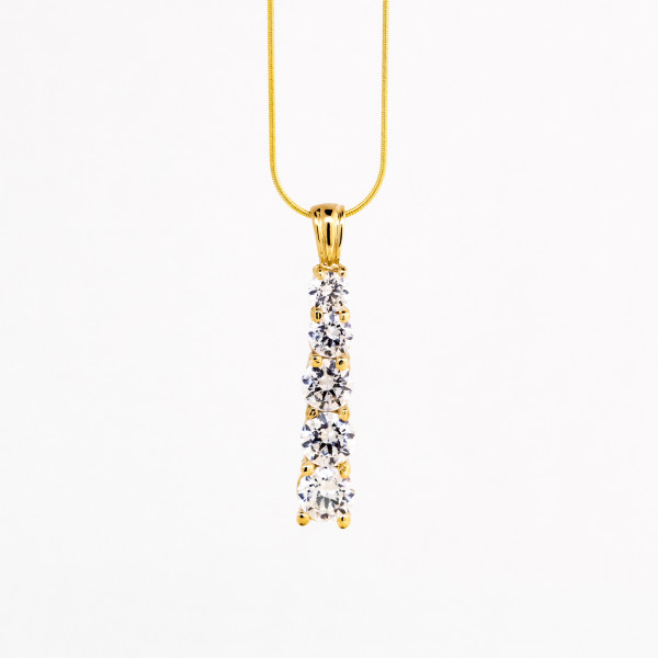 """Once in a Lifetime Necklace with 2.42 tcw - 14k Yellow Gold - 18"""" Snake Chain"""