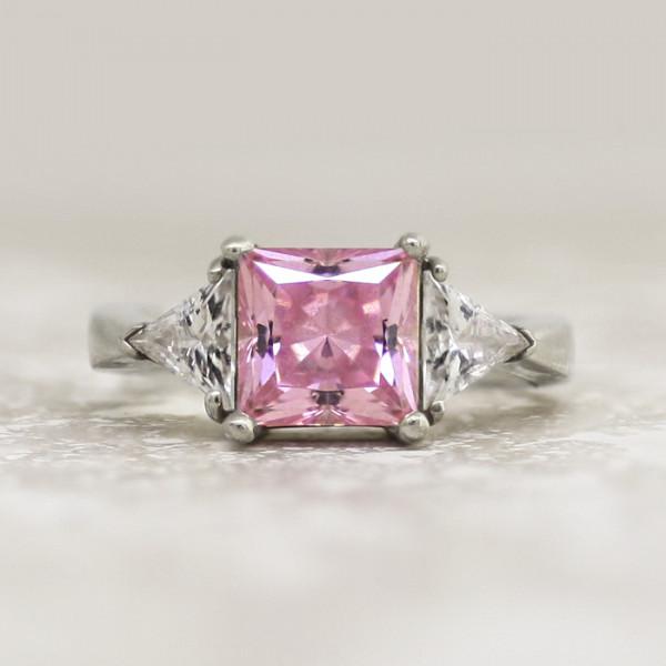 Pastoral Symphony with 3.01 carat Rose Princess Center - 14k White Gold - Ring Size 6.5-7.5