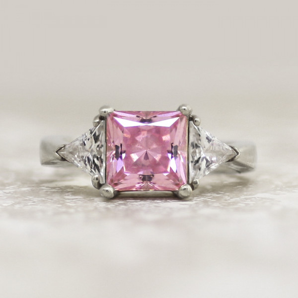 Pastoral Symphony with 3.01 carat Rose Princess Center - 14k White Gold - Ring Size 10.0-11.0
