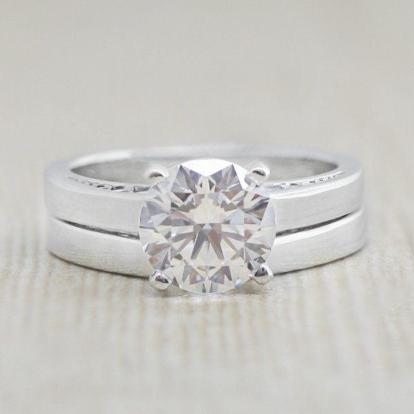 Piper with 2.04 carat Round Brilliant Center and Matching Band - 14k White Gold - Ring Size 5.0-8.0