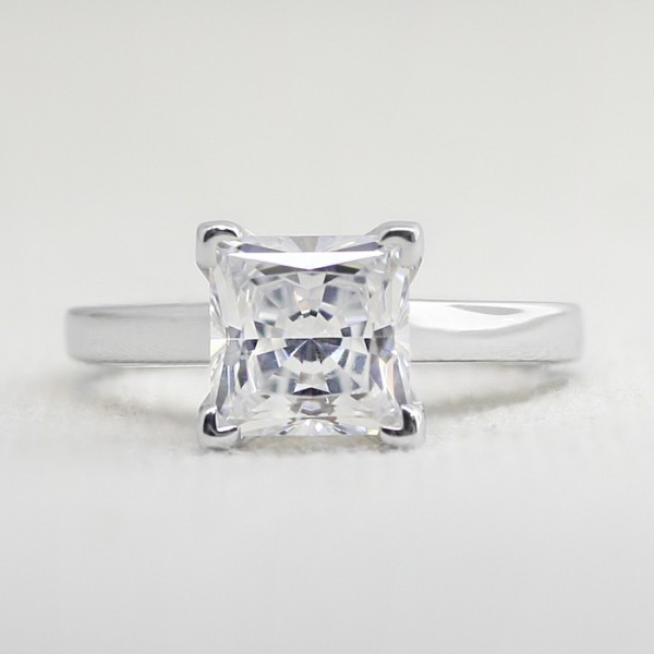 Piper with 2.01 carat Princess Center - 14k White Gold - Ring Size 5.25-8.25
