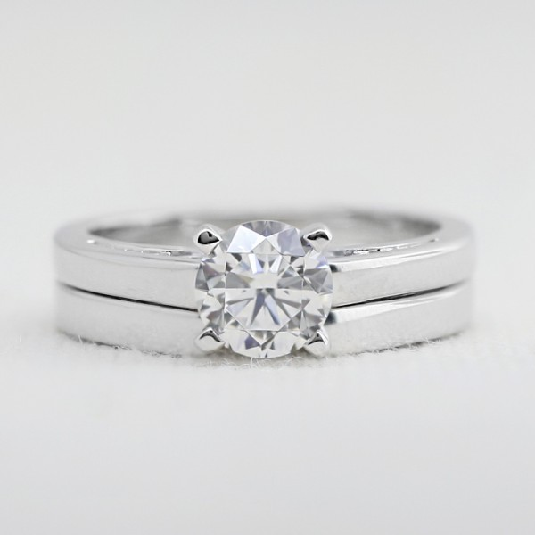 Piper with 1.03 carat Round Brilliant Center and Matching Band - 14k White Gold - Ring Size 5.0-9.0
