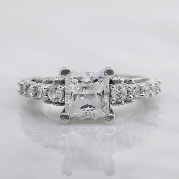 Lower Set Pompeii with 1.59 carat Princess Center - 14k White Gold - Ring Size 6.75