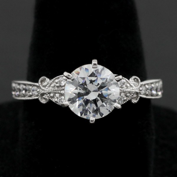 Slightly Modified French Quarter with 1.28 carat Round Center - 14k White Gold - Ring Size 7.25