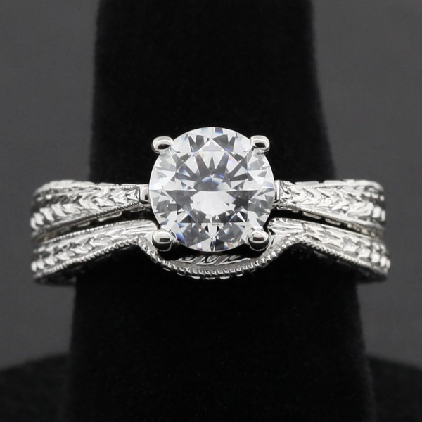 Quinn with 1.49 carat Round Center and Soldered Matching Band - 14k White Gold - Ring Size 6.0