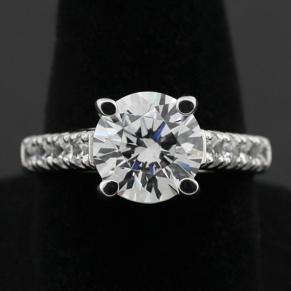 Round Cut Engagement Ring with 2.55 carat Center - 14k White Gold - Ring Size 7.5