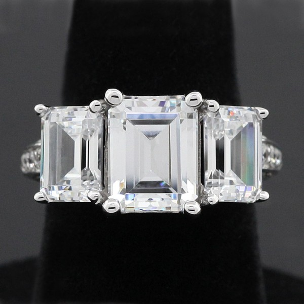Three Stone Emerald Engagement Ring with 3.21 Carat Center - 14k White Gold - Ring Size 5.25