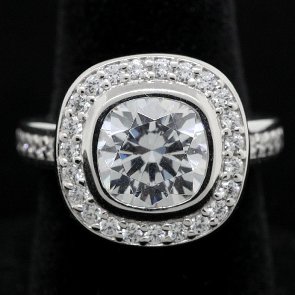 Custom Cushion Cut Ring with Halo and Accents - 14k White Gold - Ring Size 5.5