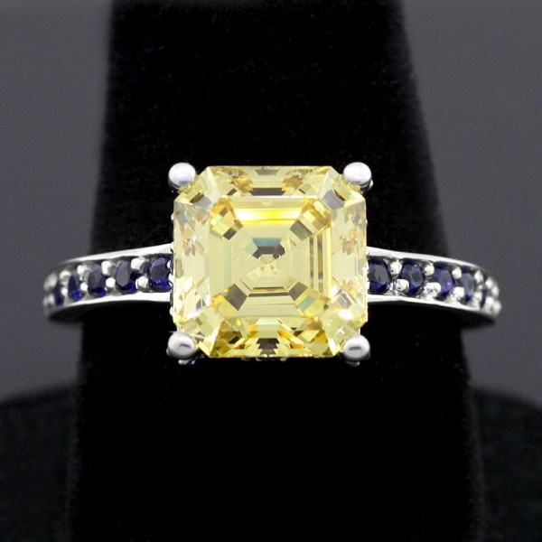 Champagne Nights with Canary and Sapphire Accents - Lorian Platinum - Ring Size 6.75