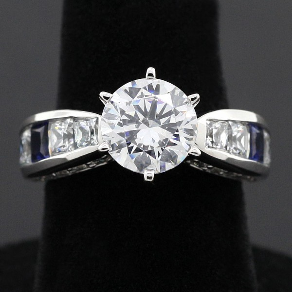 Deco with 2.04 Carat Round Center and Sapphire Accents - 14k White Gold - Ring Size 5.5