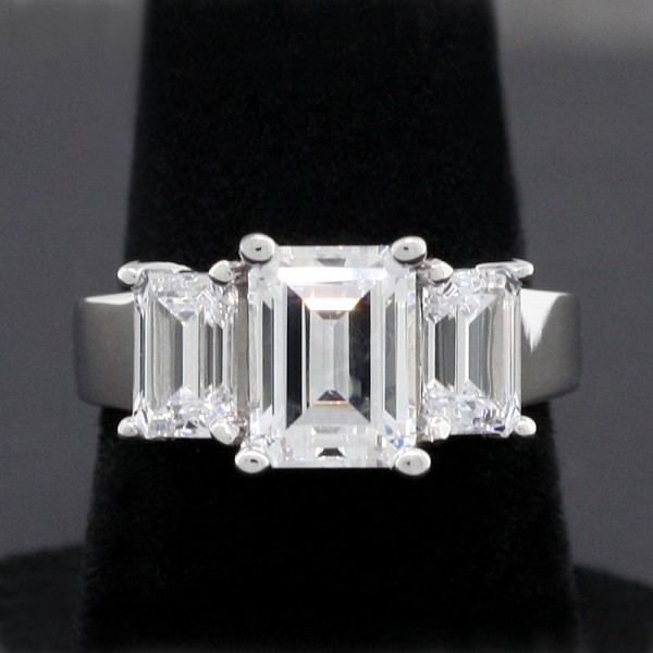 Rhapsody with 1.74 Emerald Center Stone - 14k White Gold - Ring Size 5.75