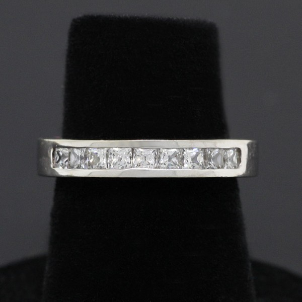 Petite Band with Channel Set Princess Cuts - 18k White Gold - Ring Size 4.5