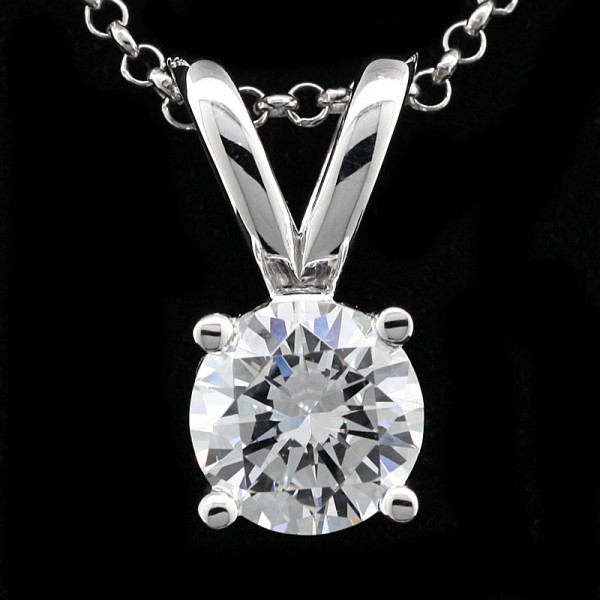 Classic Round Pendant with 2.55 Carat Center - 14k White Gold