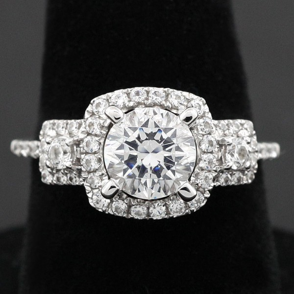 Modified Tabitha with 1.03 carat Center - 14k White Gold - Ring Size 6.0