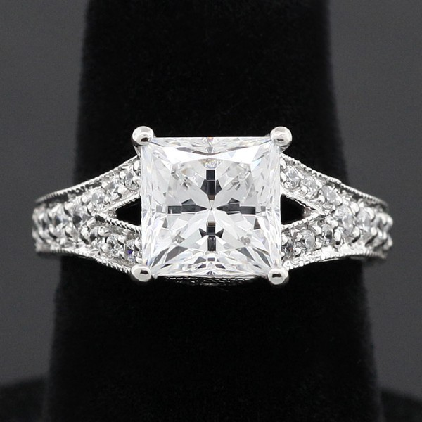 Modified Valencia with 2.01 Carart Princess Cut Center - Palladium - Ring Size 5.0