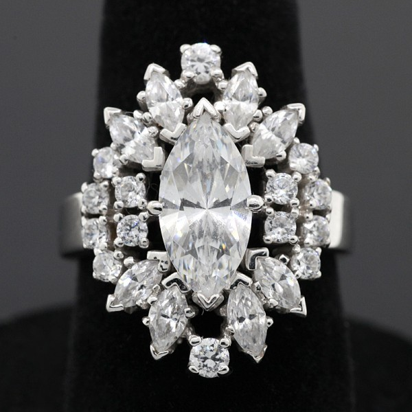 Vintage-Style Marquise Ring - 14k White Gold - Ring Size 6.0