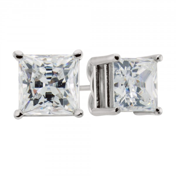 Princess Cut Studs, Basket Set - 1.24 carat each, 14k White Gold - Tension Back