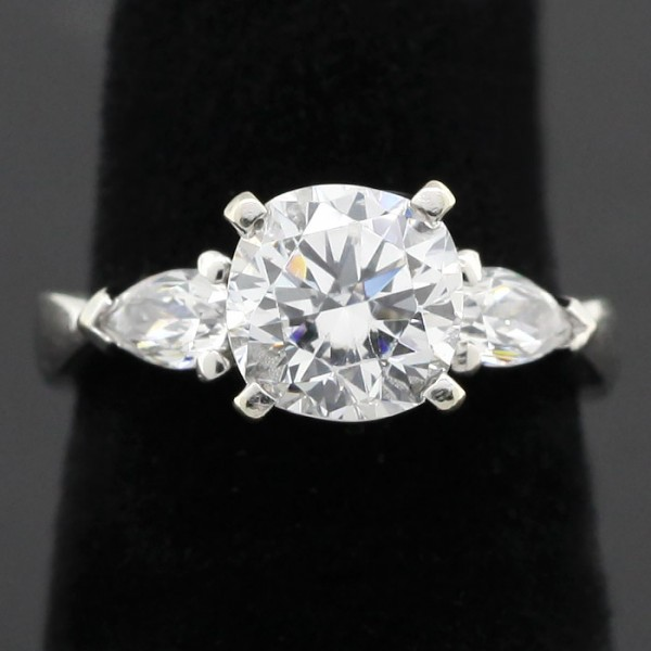 1.28 Carat Cushion Cut Ring with Pear Accents - 14k White Gold - Ring Size 4.0