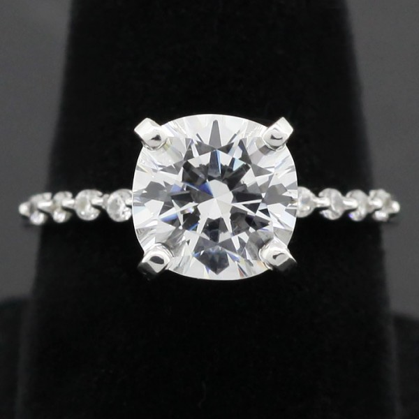 Petite Accented Band with 2.04 Cushion Cut Center  - 14k White Gold - Ring Size 5.5