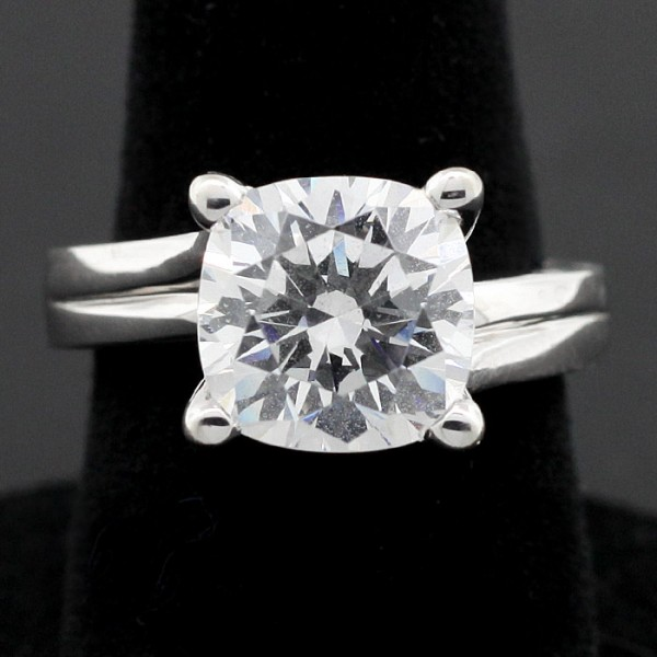 Cardiff with 3.35 Cushion Cut Center - 18k White Gold - Ring Size 5.5-7.0