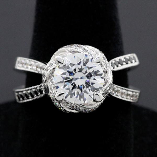 Constance with Black Accent Stones - 14k White Gold - Ring Size 7.0