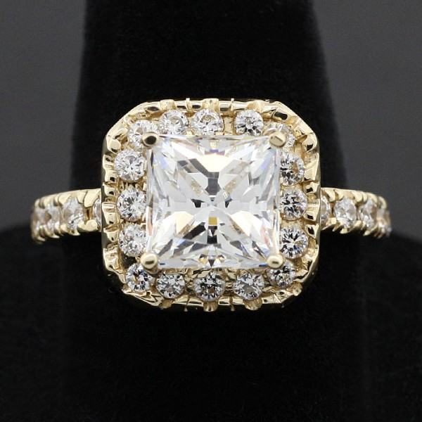 Modified Fever with 3.01 Princess Cut Center - 14k Yellow Gold - Ring Size 7.75-8.75