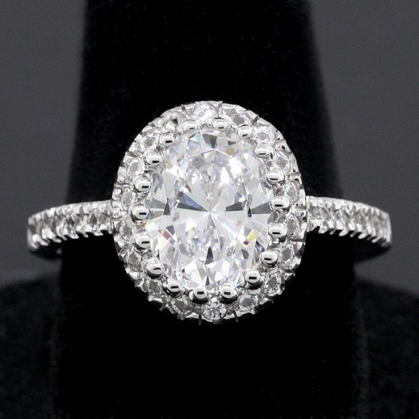 Oval Cut Ring with Halo and Metal Detailing - 14k White Gold - Ring Size 6.75